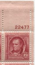 Buy 1940 2c James Fenimore Cooper Plate Block of 4 Connected Mint NH Upper R Corner