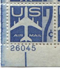 Buy 1958 7c Blue Jet Air Mail Plate Block 4 Mint Never Hinged Lower Left Corner BOB