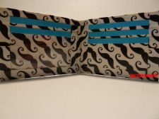 Buy HAND MADE DUCT TAPE WALLET WHITE WITH MUSTACHES ALL OVER IT