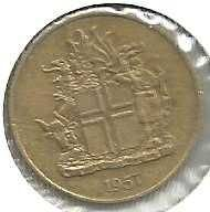 Buy 1957 Iceland 1 Krona World Coin Landvaettir Eagle Bull Dragon Animal