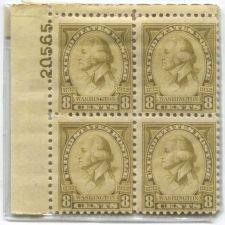 Buy 1932 8c George Washington Mint Never Hinged Plate #20565 Rare! CV 80+