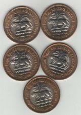 Buy Lot of 5 - RBI - 10 RUPEE BI- METAL INDIA COINS - UNC ---