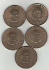 Buy Lot of 5 - MOTHER THERESA - 5 RUPEE INDIA COINS - USED -