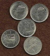 Buy Canada Lot of 5 Dimes: 1973,1979, 1985, 1988,1989