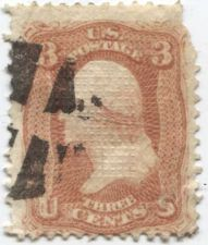 "Buy 1867 3c Washington ""F"" Grill 11 x 17 points Good Off-Paper Fancy Cancellation"