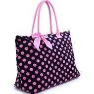 "Buy 20""Large Quilted Polka Dot Tote-Black&Pink-NWT"