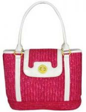 Buy Fuchsia Straw Handbag with Patent Trim-NWT