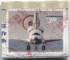 Buy 1998 Space Shuttle Landing $3.20 Priority Mail Self-Adhesive on piece cut corner