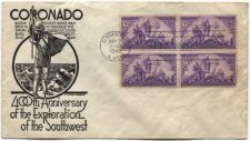 Buy 1940 3c x4 Coronado First Day of Issue Cachet Cover Albuquerque, NM Sept. 7th