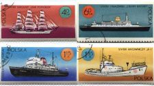Buy Set of 4 used Polska Poland Sailing Ship Stamps 40GR, 60GR, 115ZL, 135ZL