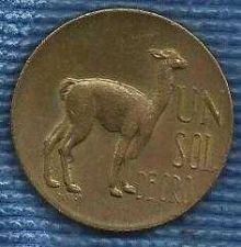 Buy 1963 Peru Un Sol de Oro World Coin KM220.5 Vicuna Llama Cinchona tree Animal