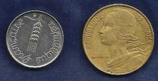Buy France 5 Centimes 1962 & 20 Centimes 1975 lot of 2 coins