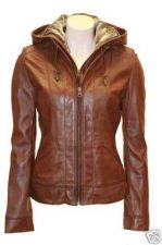 Buy BRAND NEW WOMEN'S HOODED GENUINE LEATHER JACKET BEST DEAL EVER