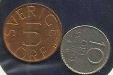 Buy Sweden 5 + 10 ORE (1984 + 1973)