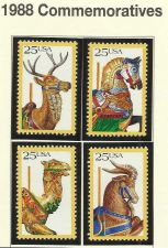 Buy Carousel Animals Scott's 2390-2393 4 mint US stamps 1988 Commemoratives