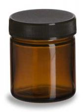 Buy 1.7 oz. (50ml) Amber Round Glass Salve Jar with Black Plastic Screw Top