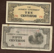 Buy Invasion Money Small Japan Note 10 Centavo PR & 50 Centavo PI Notes WWII