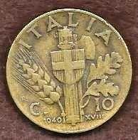 Buy 1940 Italy (Fascist) 10 Centesimi Coin Vittorio Emanuele III WWII KM#74a