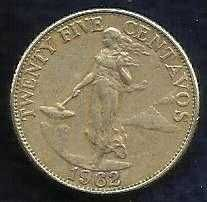 Buy World Coins - 1962 Philippines 25 Centavos Coin. 6 smoke rings struck in Germa