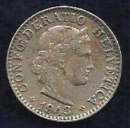 Buy Switzerland 20 Rappen 1943 WWII ERA