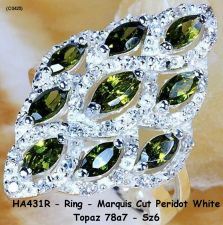 Buy HA431R - Ring - Marquis Cut Peridot White Topaz Sz 6