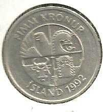 Buy Iceland 5 Kronur 1992 Coin with dolphins