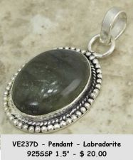 Buy VE237D - Pendant - Labradorite 925 Sterling Silver Plated