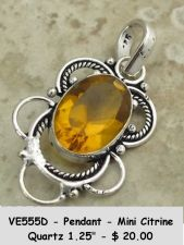 Buy VE555D - Pendant Citrine Quartz 925 Sterling Silver Plated