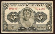 Buy LUXEMBOURG CINQ (5) FRANCS Note 505586, ND (1944), P-43a, - Grand Duchess Charlotte