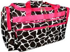 "Buy Black Giraffe Print 22"" Duffle Bag with Fuchsia Trim-NWT"