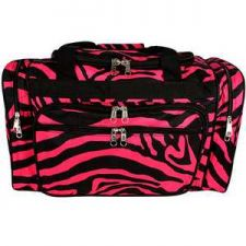 "Buy 20"" Hot Pink and Black Zebra Duffle Bag with Black Trim-NWT"
