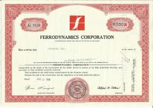 Buy FERRODYNAMICS CORPORATION 100 SHARES STOCK CERTFICATE 1966