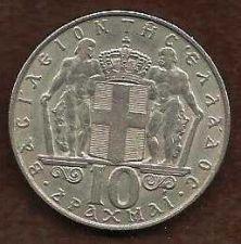 Buy GREECE 10 Drachmai 1968 excellent condition GRIECHENLAND GRECIA GRECE GREEK COIN