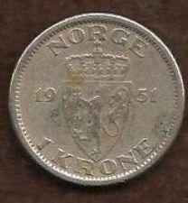 Buy 1951 Norway 1 Krone, King Haakon VII