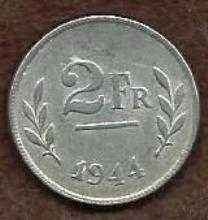 Buy 1944 Belgium 2 Francs Coin WWII Allied Occupation Issue KM#133