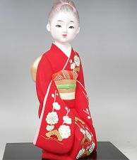 Buy Japanese Hakata Clay Doll : Girl in Red Kimono