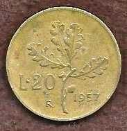 Buy 1957 Italy 20 Lire Coin Wheat Sprigs KM#97