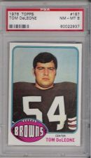 Buy 1976 Topps Football #187 Tom DeLeone Cleveland Browns PSA 8 NM-MT