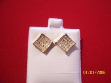 """Buy Square Stud Pierced Earrings Gold Tone with Simulated Sparkle Stones 3/8"""""""