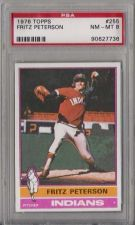 Buy 1976 Topps Baseball #255 Fritz Peterson Cleveland Indians PSA NM-MT 8