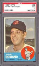 Buy 1963 Topps Baseball #72 Johnny Romano Cleveland Indians PSA NM 7