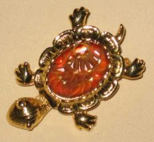 Buy Vintage Carved Bakelite Catalin Turtle Pin Brooch Gold Metal EXC