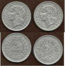 Buy SPECIAL: TWO (2) FRANCE 5 FRANCS 1949 COIN WWII ERA Coins