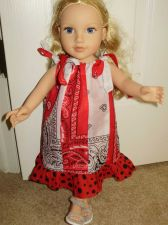 Buy red and white bandanna dress for 18 inch doll