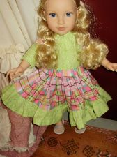 Buy summer skirt set for 18 inch doll patch work green and pink color