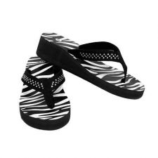 Buy Black Zebra Print Crystal Wedge Flip-Flop-Sz-M(7-8)-NWT