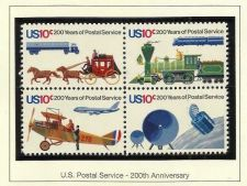 Buy 1975 Block of 4 US Mail Postage Stamps 200 years of Postal Service 10 Cent