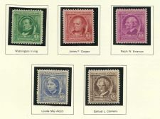 Buy 1940 American Poets 1 Irving Cooper Emerson Alcott CleminUS Mint Set of 5 Stamps
