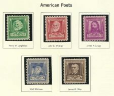 Buy 1940 American Poets 2 Longfellow Whitter Lowell Whitman US Mint Set of 5 Stamps