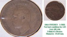 Buy Sweden 1864 1 ORE >>> nice condition for a 149 years Coin!